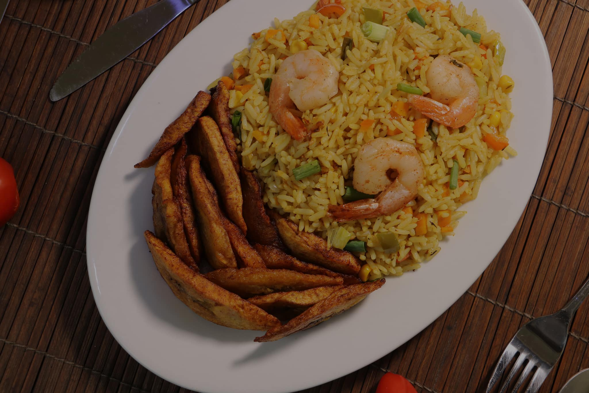 Fried Rice, Shrimps And Plantain Recipe