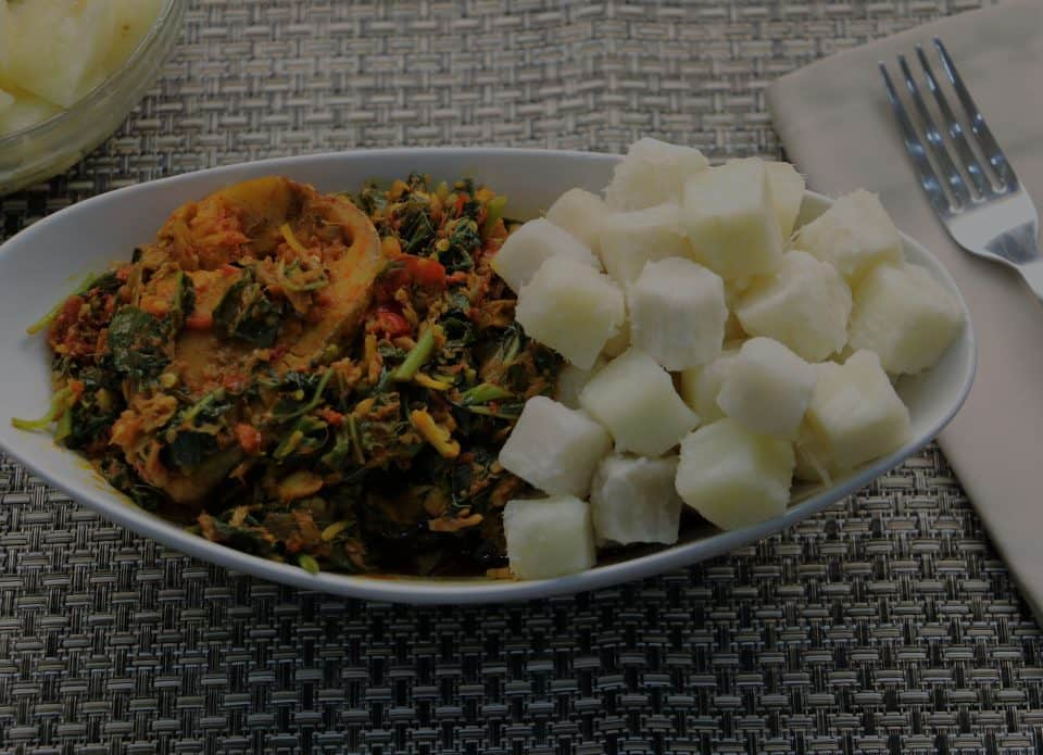 Yam and Peppery Vegetable Sauce