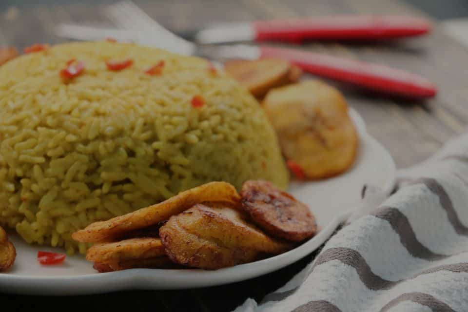 Curried Rice and Fried Plantain