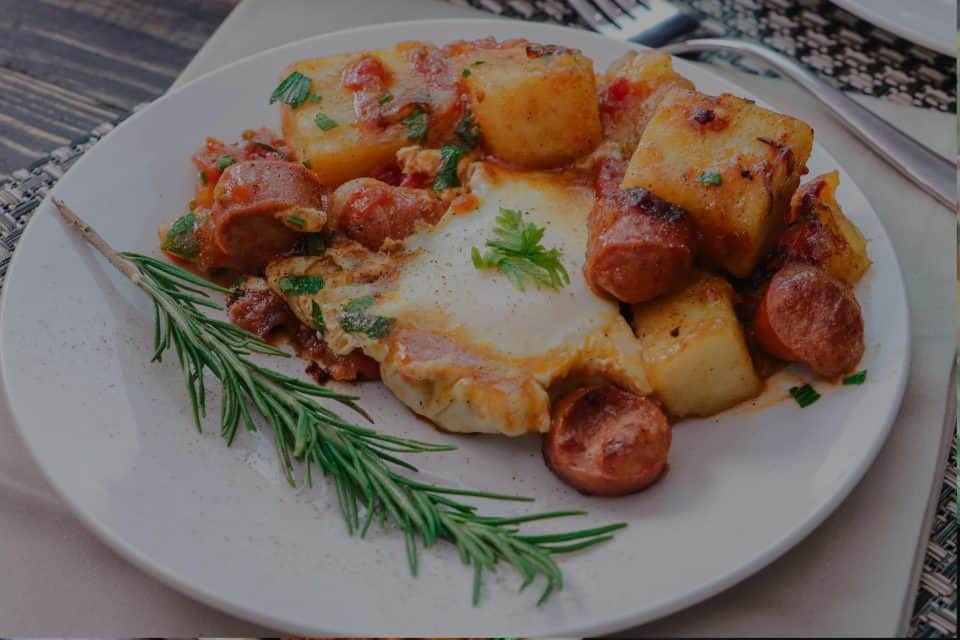 Yam Hash with Eggs and Sausage