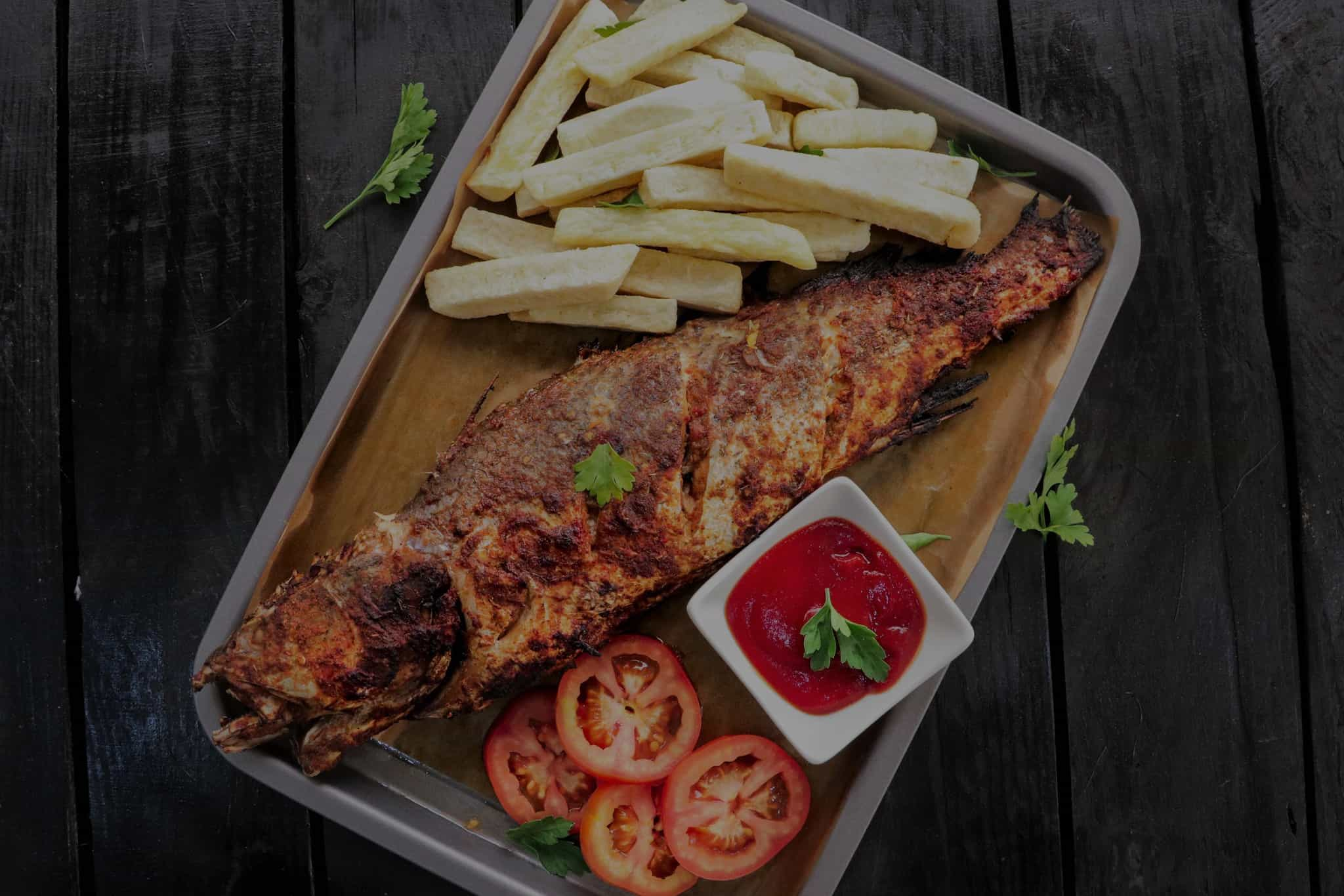 Yam Fries and Grilled Spicy Fish