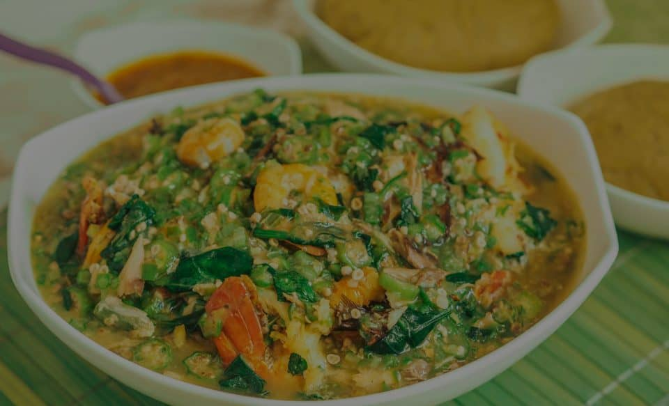 Spinach Okra Soup with Plantain Amala
