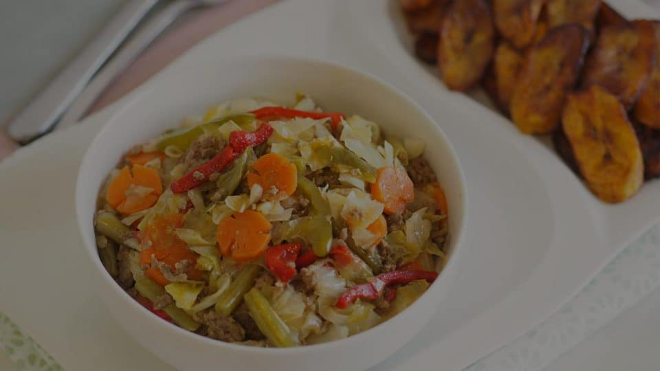 Stewed Cabbage with Minced Beef & Sympli Ripe Plantain